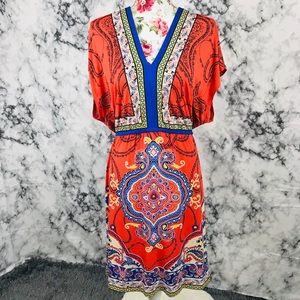 Valerie Stevens 2X orange and blue stretchy dress